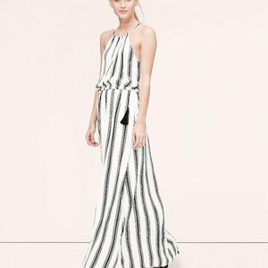 NWT LOFT Striped Tassel-Belt Maxi Dress